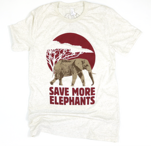 Save More Elephants Oatmeal Adult Unisex Tee
