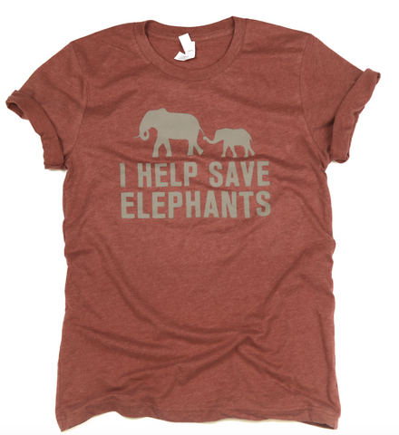 I Help Save Elephants Adult Unisex Tee-Heather Clay