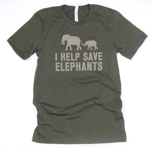 I Help Save Elephants Adult Unisex Tee-Army