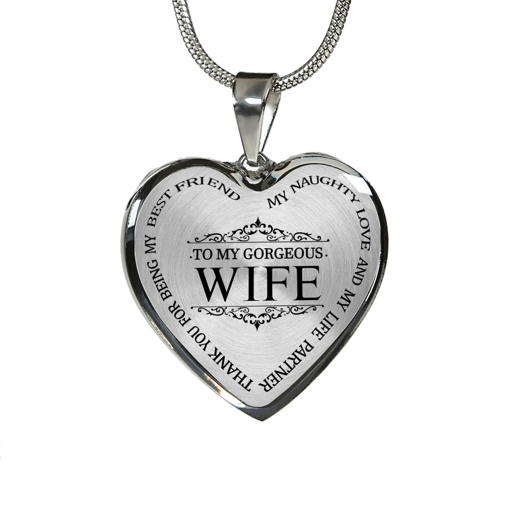 My Wife Best Friend Luxury Silver Necklace Birthday Graduation Gift Military