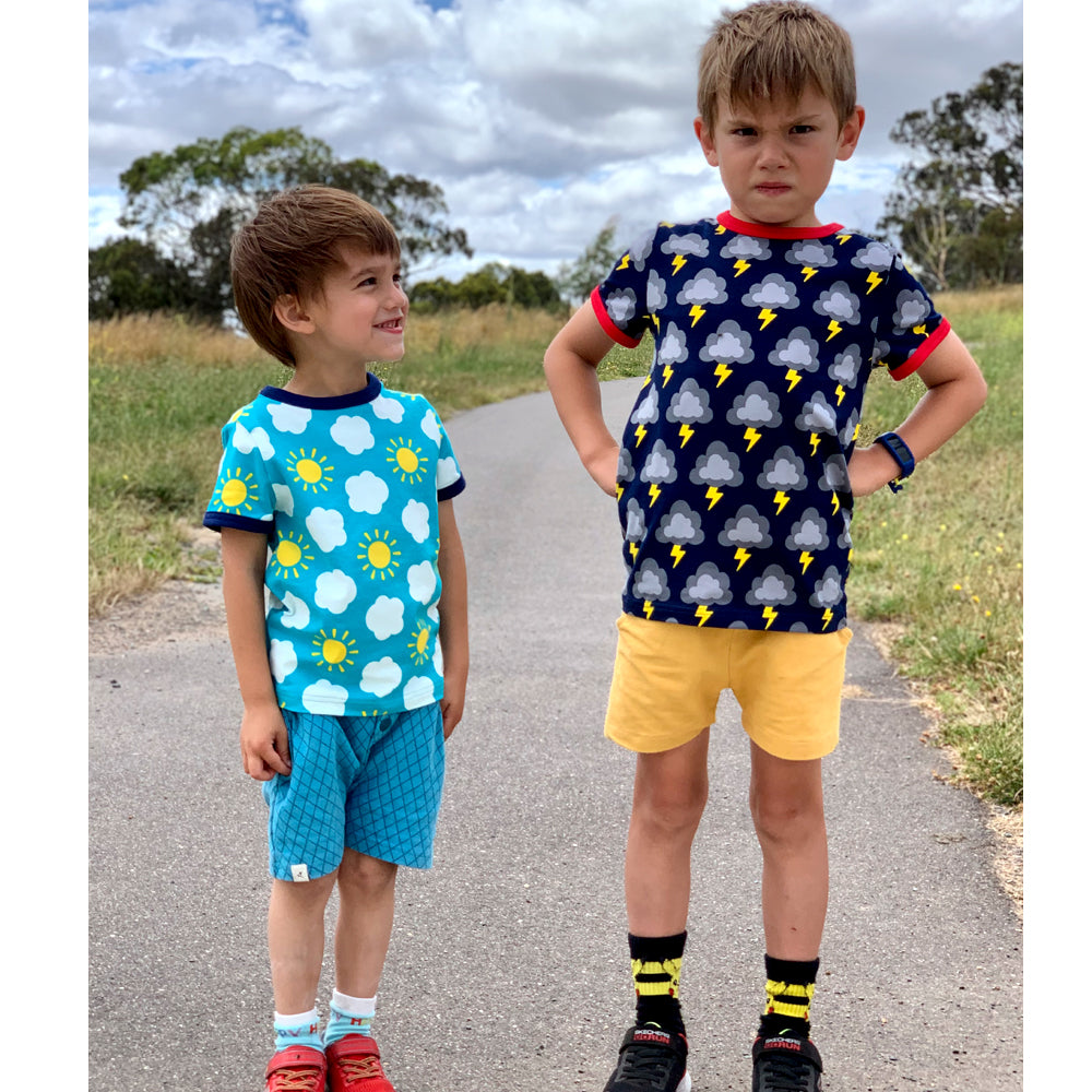Duns Sweden Organic Summer Suit - Sailing Boats - Orange, Summer suit, Duns, Baby goes Retro - Baby goes Retro