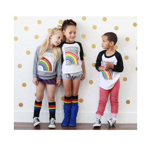 "14"" Kids Rainbow Striped Tubes - Black by Pride Socks, socks, Pride Socks, Baby goes Retro - Baby goes Retro"