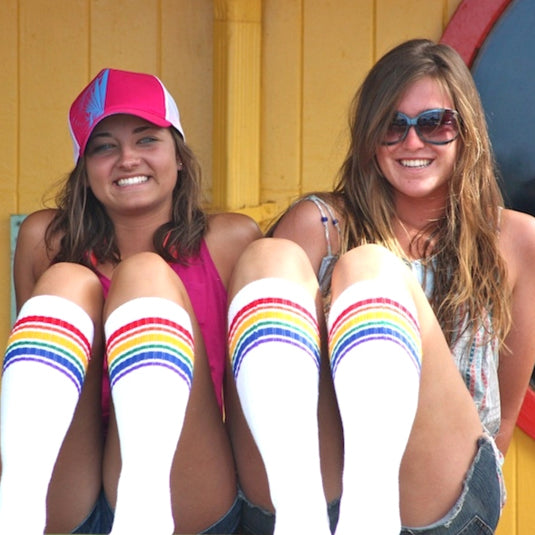 "19"" Under the Knee Rainbow Striped Tubes - 1, socks, Pride Socks, Baby goes Retro - Baby goes Retro"