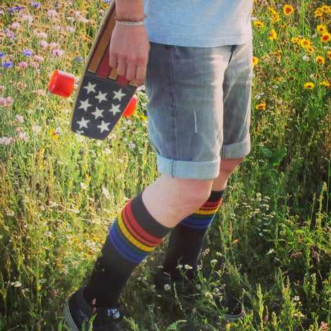 Pride socks 22 inch rainbow tube socks - black