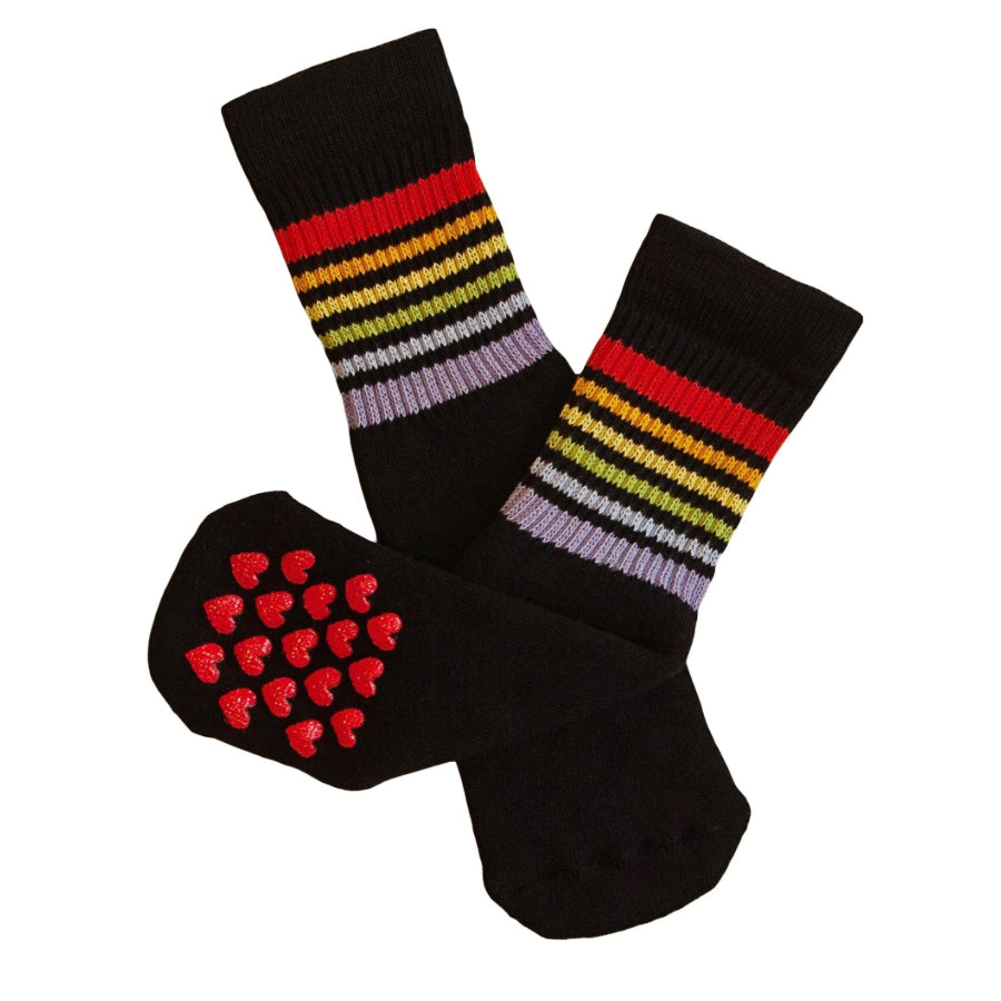 "Non-slip 10"" Baby/toddler Rainbow Striped Tubes - Black by Pride Socks"