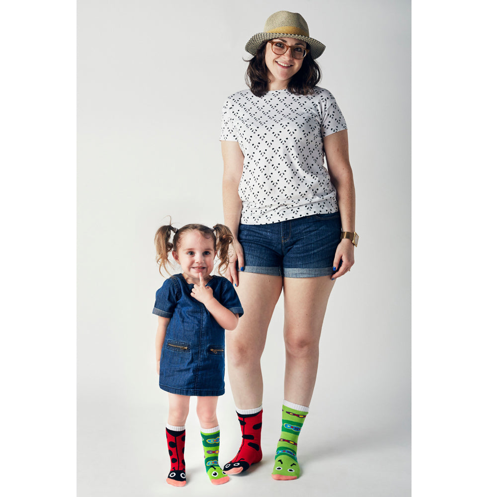 Pals Adult Mismatched Socks  - Ladybug & Caterpillar