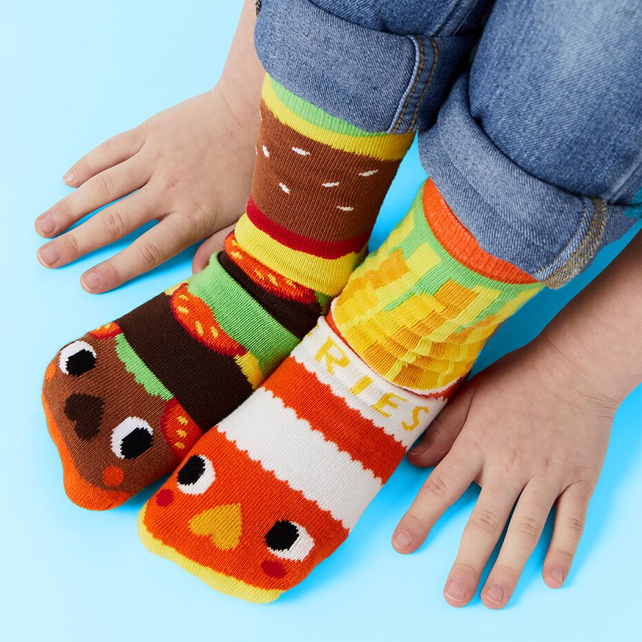 Pals Socks - Burger & Fries - Kids collectible mismatched socks