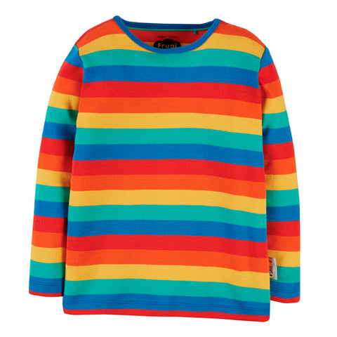 Frugi Organic Everyday l/s Tee - Rainbow Stripe