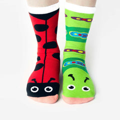 Pals Adult Mismatched Socks  - Ladybug & Caterpillar, Socks, Pals Socks, Baby goes Retro - Baby goes Retro