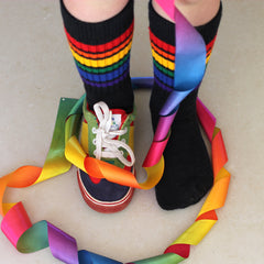 "10"" Baby/toddler Rainbow Striped Tubes - Black by Pride Socks, socks, Pride Socks, Baby goes Retro - Baby goes Retro"