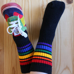 "10"" Baby/toddler Rainbow Striped Tubes - Black by Pride Socks"