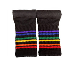 "19"" Under the Knee Rainbow Striped Tubes - Black, socks, Pride Socks, Baby goes Retro - Baby goes Retro"