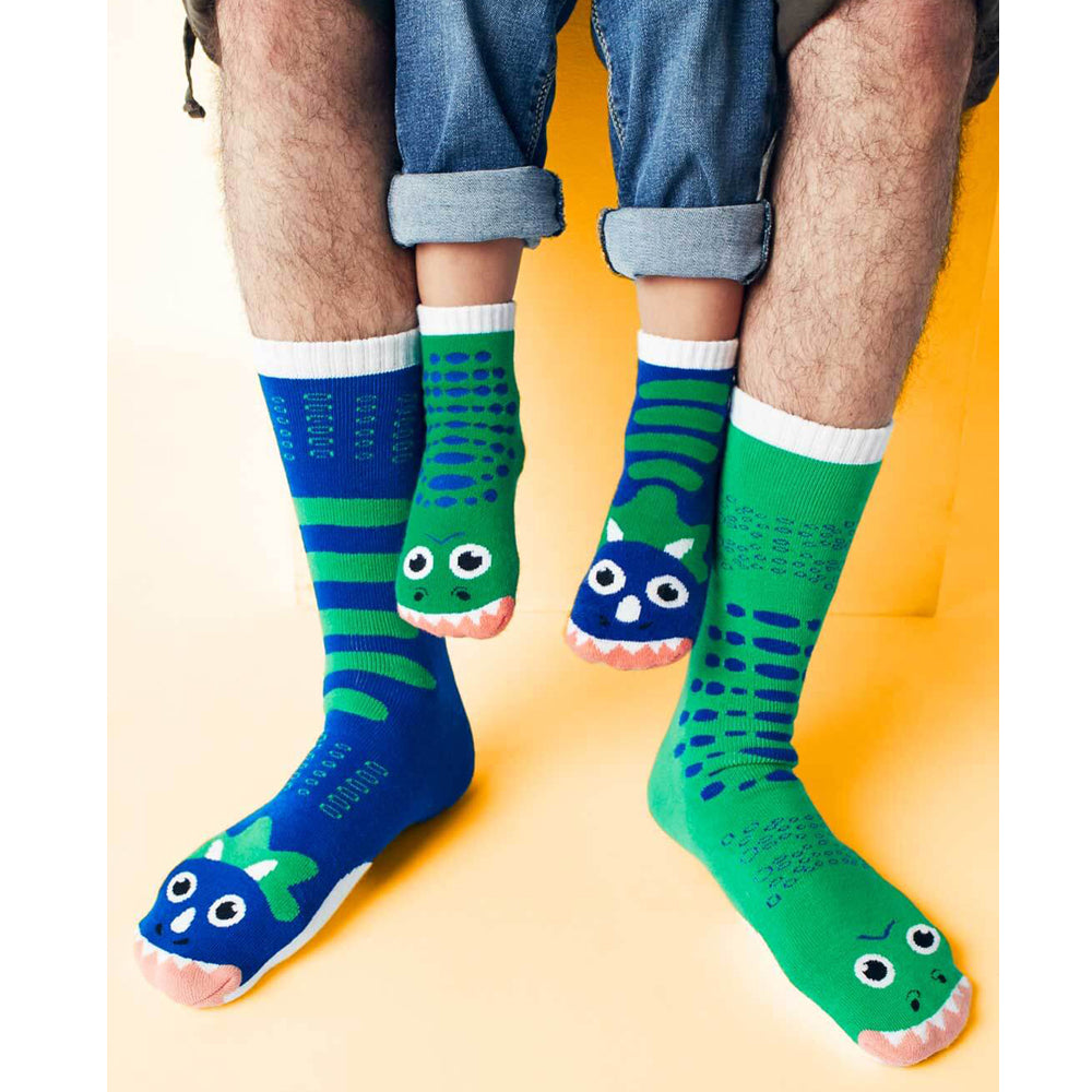 Pals Adult Mismatched Socks  - T-Rex & Triceratops