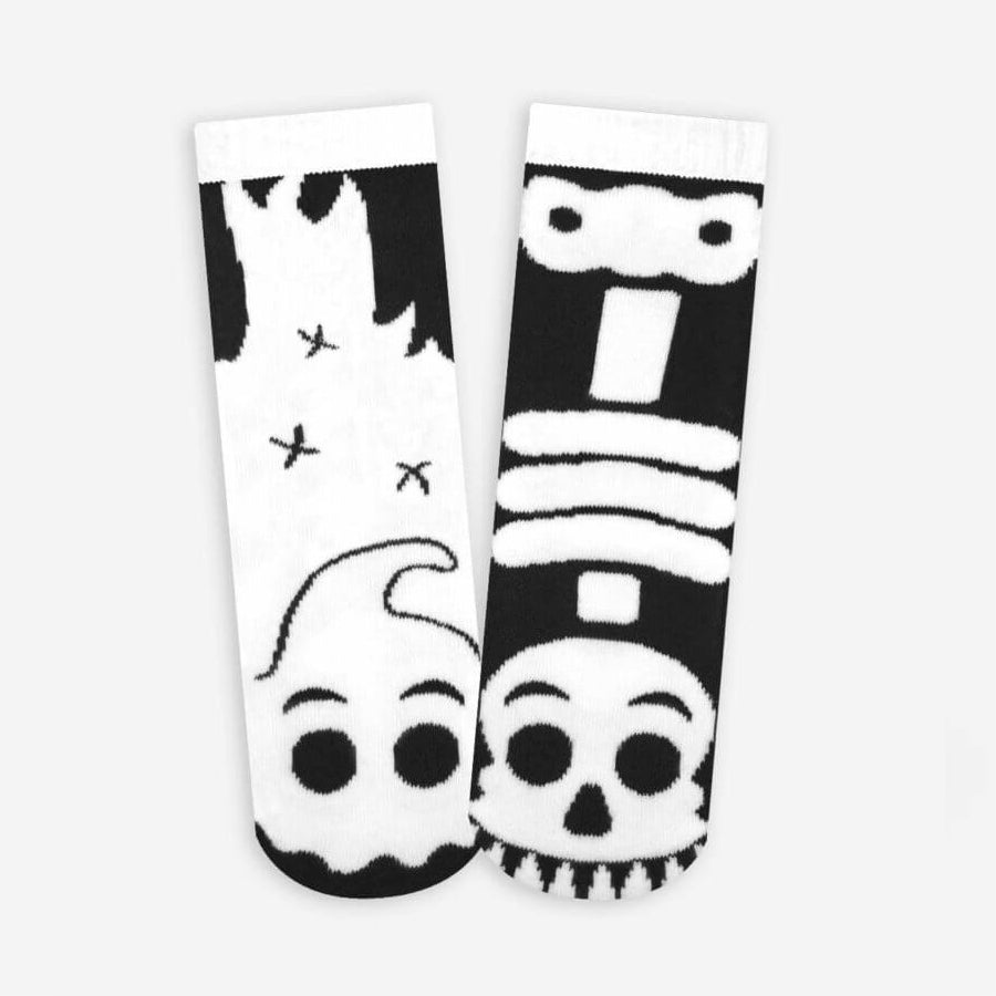 Pals Socks - Ghost & Skeleton {GLOW IN THE DARK} - Kids collectible mismatched socks, Socks, Pals Socks, Baby goes Retro - Baby goes Retro