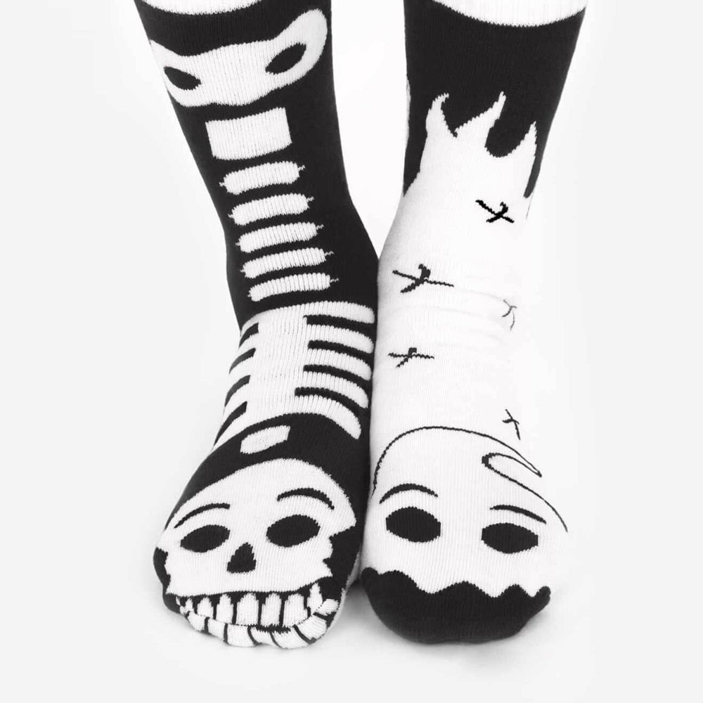 Pals Adult Mismatched Socks  - Ghost & Skeleton {GLOW IN THE DARK}