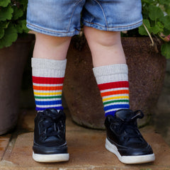 "10"" Baby/toddler Rainbow Striped Tubes - Grey, socks, Pride Socks, Baby goes Retro - Baby goes Retro"