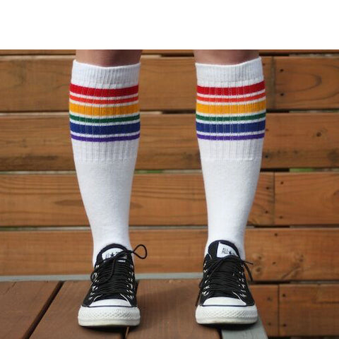 "22"" Knee High Rainbow Striped Tube Socks - 1, socks, Pride Socks, Baby goes Retro - Baby goes Retro"