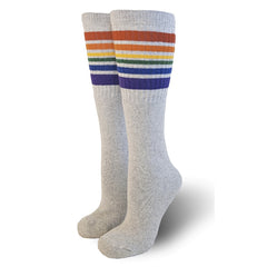 "22"" Knee High Rainbow Striped Tube Socks - Grey, socks, Pride Socks, Baby goes Retro - Baby goes Retro"
