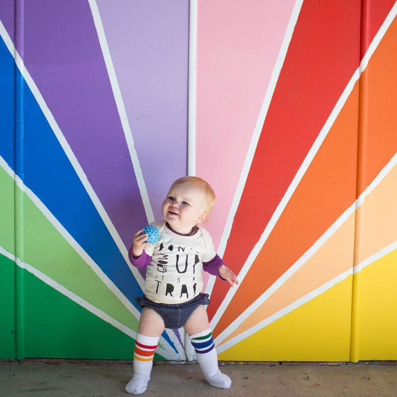 "10"" Baby/toddler Rainbow Striped Tubes - 3 by Pride Socks, socks, Pride Socks, Baby goes Retro - Baby goes Retro"