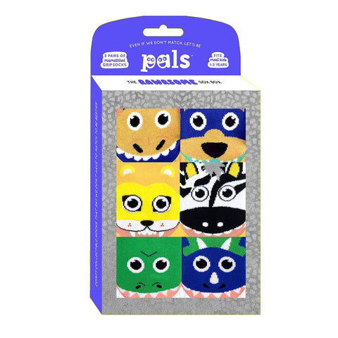 Pals Socks Gift Box - Rawrsome Box - Three mismatched socks sets | Toddler 1-3 years, Socks, Pals Socks, Baby goes Retro - Baby goes Retro