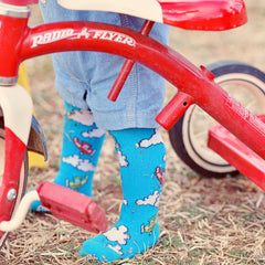 Slugs & Snails Organic Children's Tights - High Flyer Planes & Clouds, Tights, Slugs & Snails, Baby goes Retro - Baby goes Retro