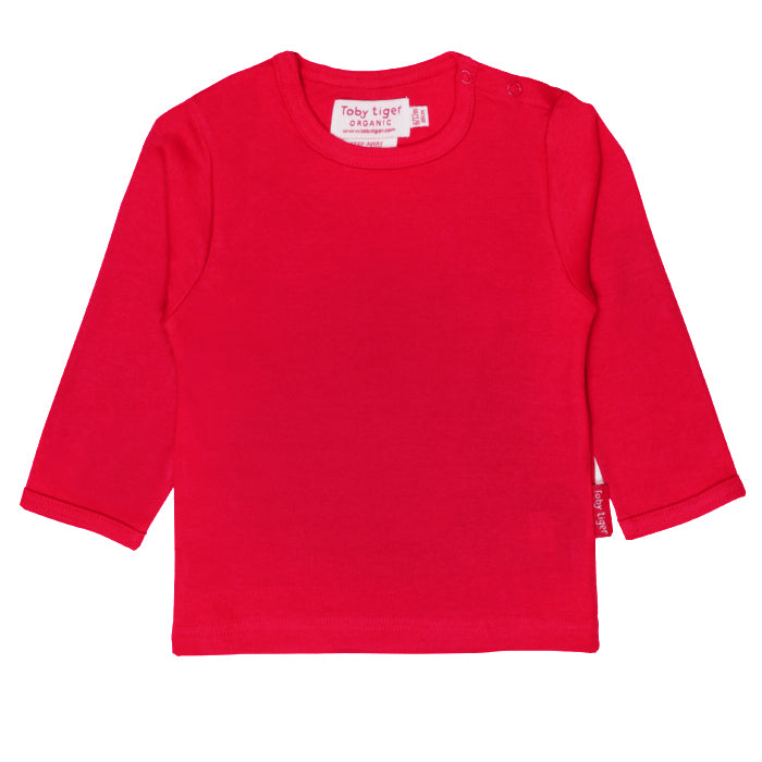 Toby Tiger Organic Basic l/s Tee - Red, Tee, Toby Tiger, Baby goes Retro - Baby goes Retro