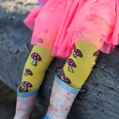 Slugs & Snails Organic Children's Tights - Toadstools