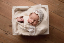 Lacey Cream Newborn Bonnet