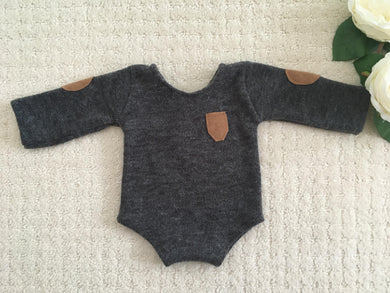 Bailey Charcoal Grey Newborn Romper