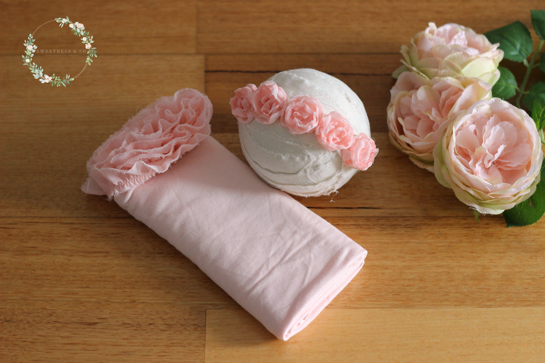 Pinky Peach Chiffon Newborn Wrap Set