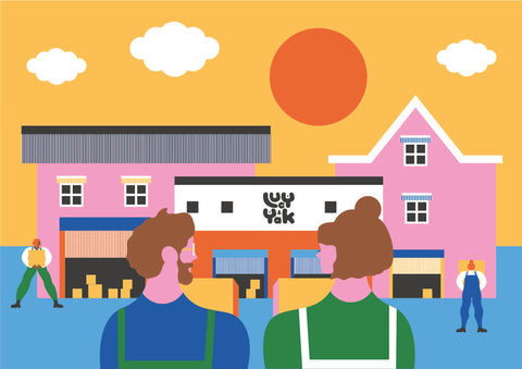 A bright, joyful illustration of our founders, Lucy and Chris, gazing lovingly at Lucy & Yak HQ - where much of our magic happens!