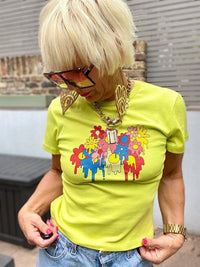 Lucy & Yak TOP Maya Tee With Melting Flowers Print In Lime Green