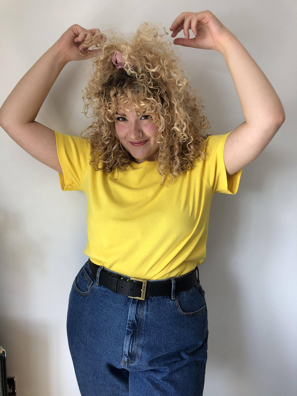 Lucy & Yak Tops 'Maya' Little Ribbed Plain Tee In Yellow