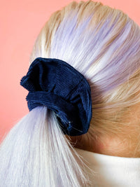 Lucy & Yak accessories Hair Scrunchie in Sailor Blue Organic Cotton Corduroy