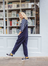 Tall - 'The Organic Original' Corduroy Dungarees in Sailor Blue