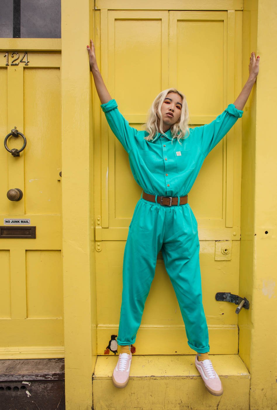 'Frankie' Oversized Organic Boilersuit in Turquoise
