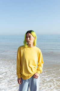 Lucy & Yak Tops Kenny SeaCell Skater Tee in Mustard Yellow