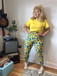 Lucy & Yak Leggings Mental Health Tencel Leggings In Blue & Yellow Flower Print