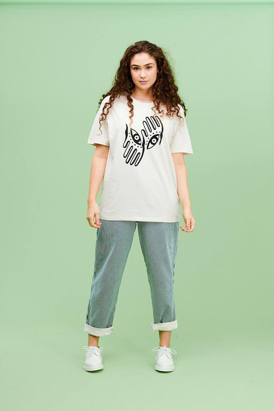 Lucy & Yak Tops All Seeing Limited Edition Tee In White By Helen Harlow