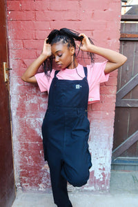 Lucy & Yak Dungarees 'Colorado' Cargo Dungarees in Black - Reg