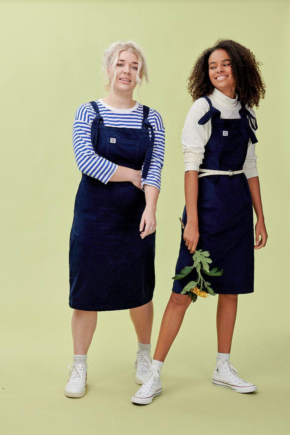 Lucy & Yak Dress 'Freyja' Corduroy Midi Dungaree Dress in Sailor Blue
