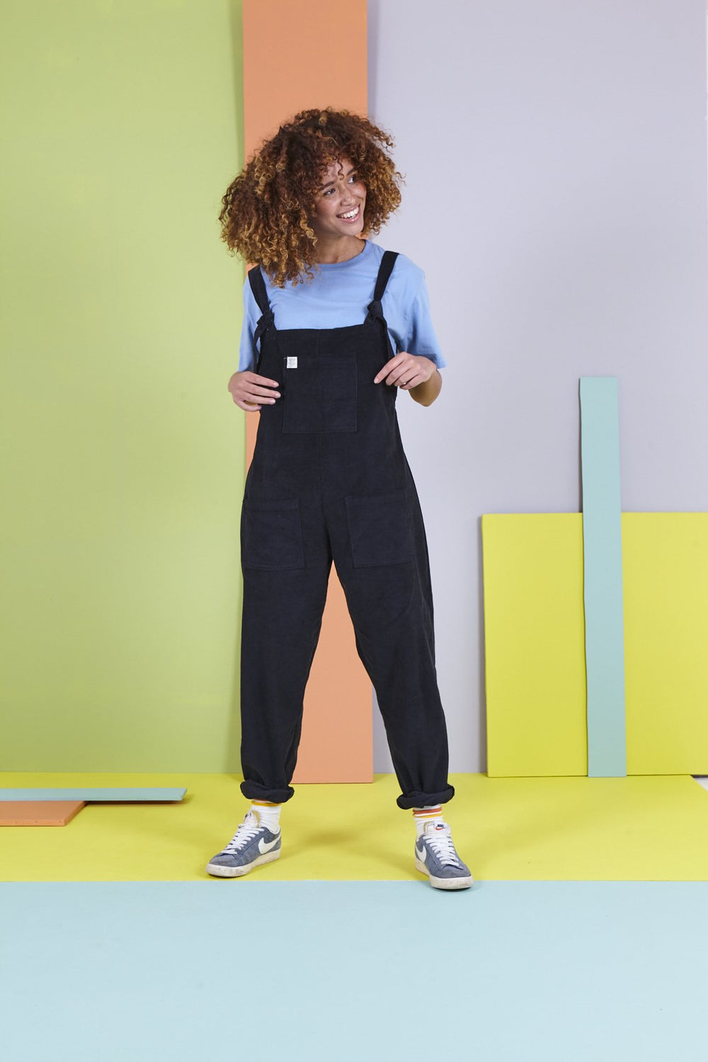 Tall - 'The Organic Original' Corduroy Dungarees in Charcoal Black