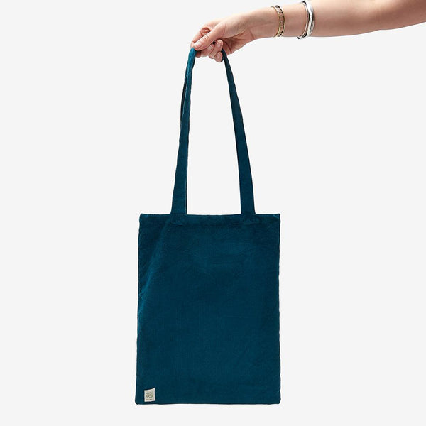 Lucy & Yak Bag ♻️'Idly' Recycled Corduroy Tote Bag in Petrol Blue ♻️