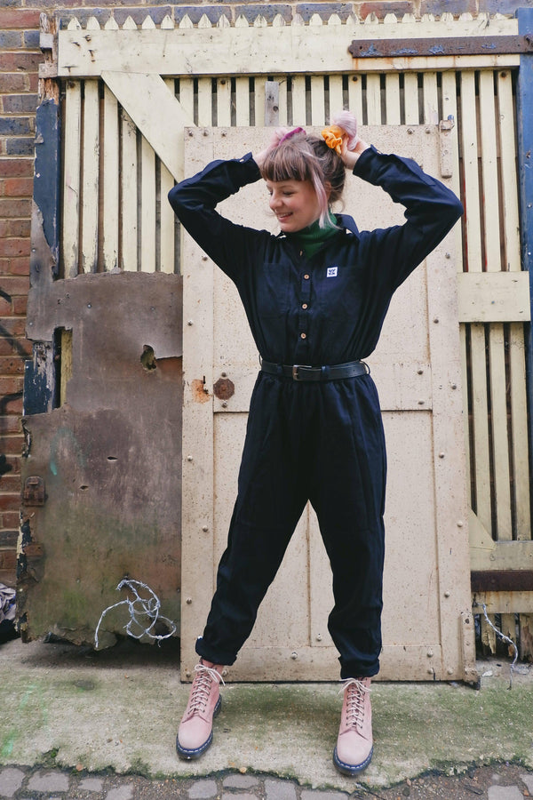 Lucy & Yak Dungarees 'Eddie' Boilersuit in Charcoal Black - Woven Cotton Umi Material