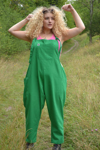 Lucy & Yak Dungarees Luna Lightweight Cotton Dungarees In Green