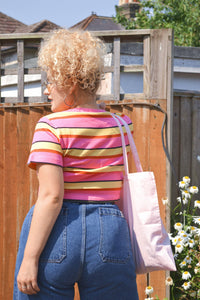 Lucy & Yak Tops 'Ava' Short Sleeved Organic Cotton Tee in Pink & Yellow Stripes