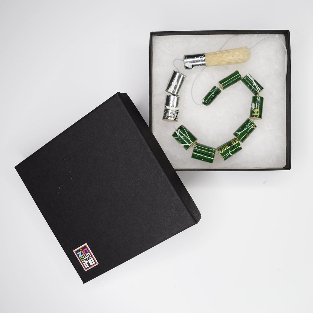 Green Recycled Paintbrush Necklace by Zinc White