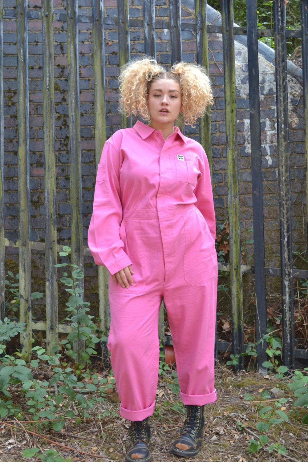 Lucy & Yak Boilersuit Carmen 100% Organic Cotton Boilersuit in Bubblegum Pink
