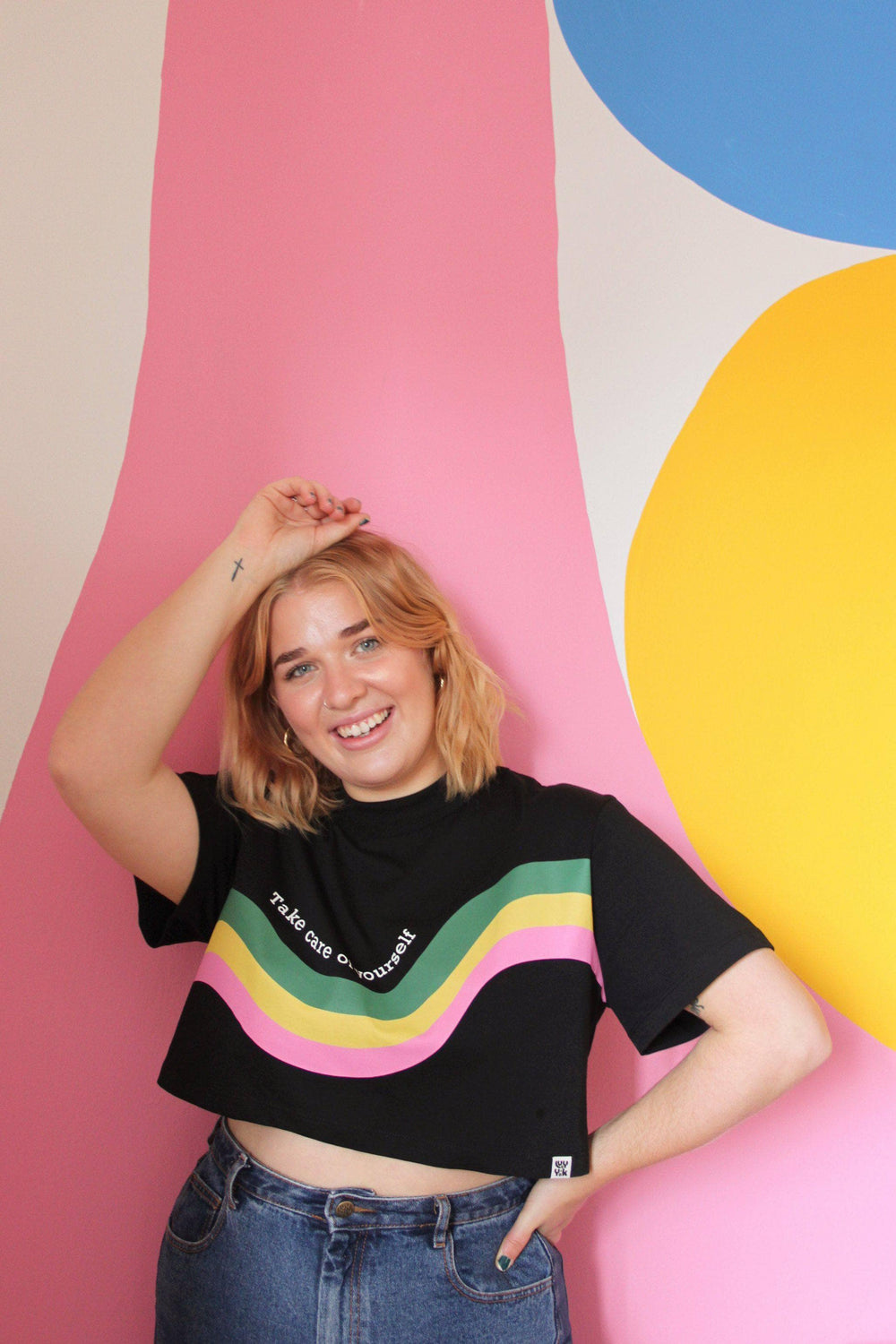 Lucy & Yak TOP Nola Boxy Cut Tee in Black with Take Care Wave Print