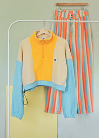 Lucy & Yak Tops The Sundaze Collection - Blake Cropped Fleece in Artisans Gold, Wheat & Aqua